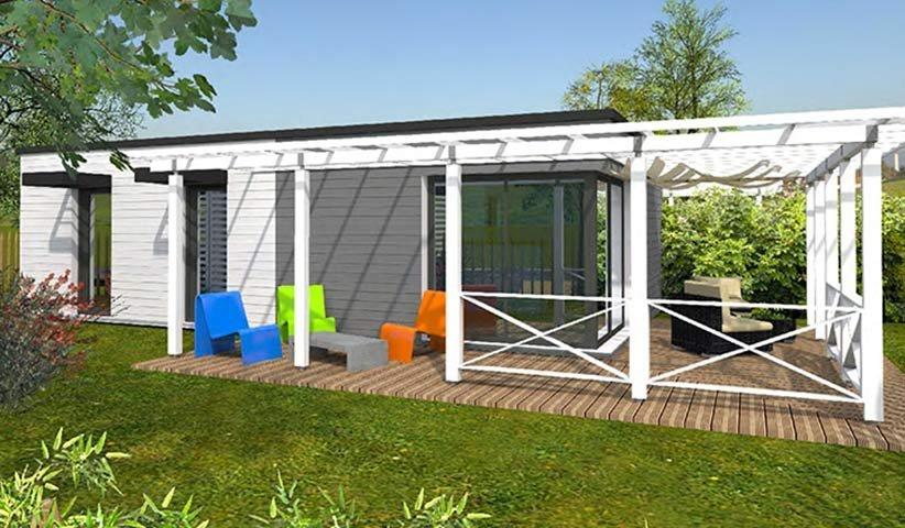 Maison ossature bois de plain pied 50 m maison bois for Maison plain pied bois