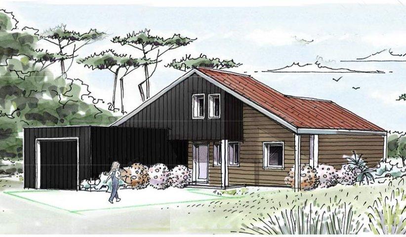 Maison ossature bois tage 112 m 3 chambres for Id maison bois