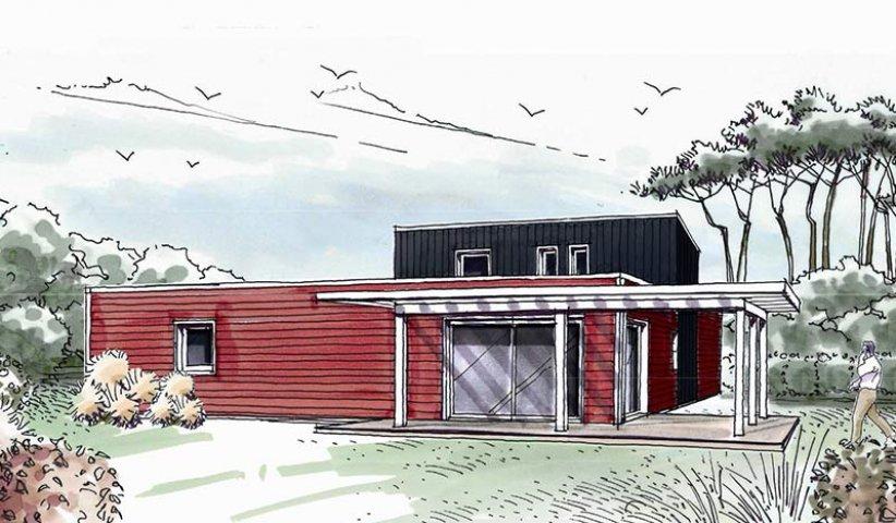 maison ossature bois tage 177 m 5 chambres. Black Bedroom Furniture Sets. Home Design Ideas