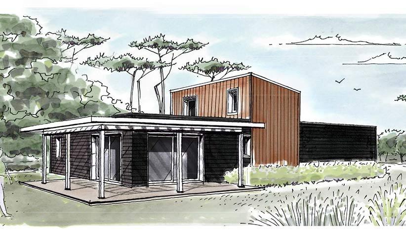 maison ossature bois 115 m 4 chambres. Black Bedroom Furniture Sets. Home Design Ideas