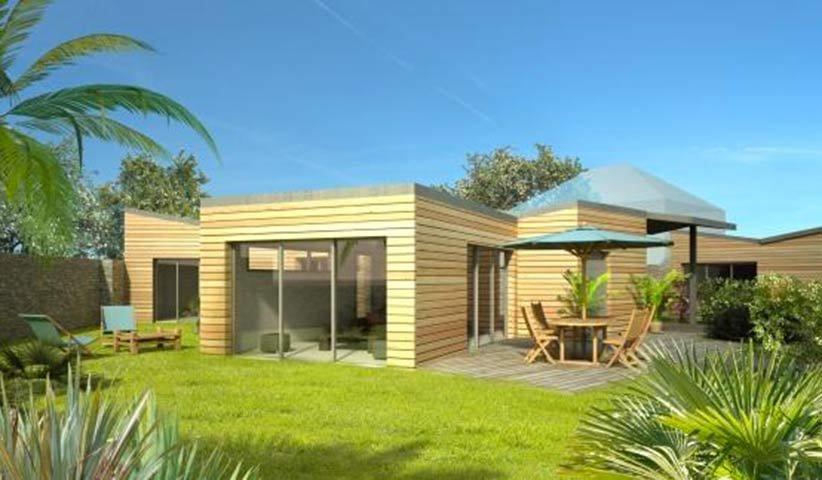 Maison ossature bois de plain pied 120 m 3 chambres - Maison en bois plein pied ...