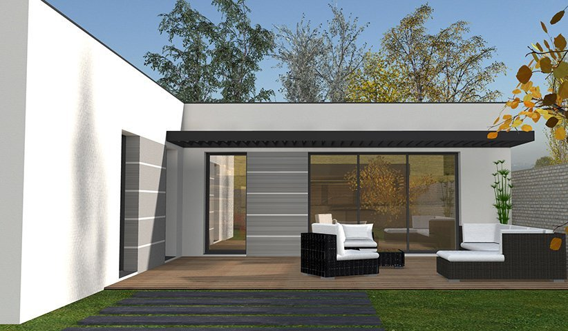 Maison contemporaine de plain pied 111 m 4 chambres for Maisons contemporaines