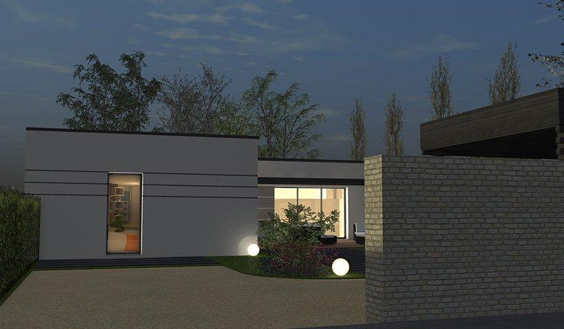 Maison contemporaine de plain pied 111 m 4 chambres - Maison moderne plain pied 4 chambres ...