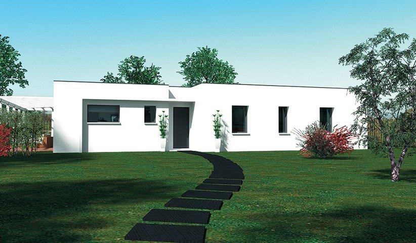 maison design de plain pied 100 m 3 chambres. Black Bedroom Furniture Sets. Home Design Ideas