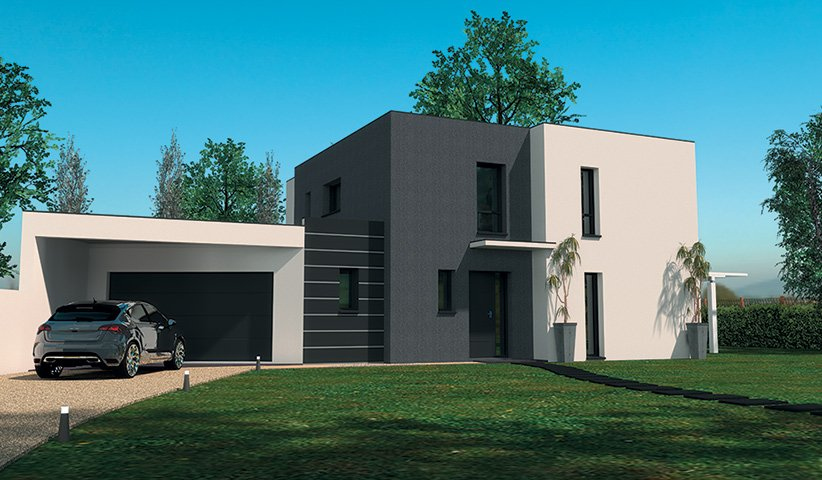 Maison contemporaine tage 160 m 4 chambres for Maison moderne et design