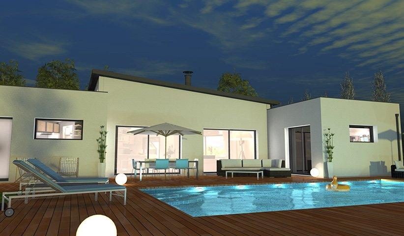 Maison contemporaine de plain pied 132 m 4 chambres - Constructeur maison contemporaine toit plat avec pasio ...