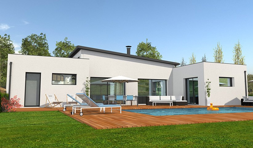 Maison contemporaine de plain pied 132 m 4 chambres for Plan maison contemporaine plain pied toit plat