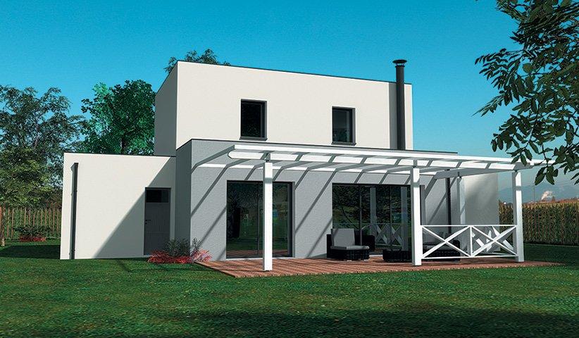 Maison design tage 110 m 3 chambres for Architecture maison style americain