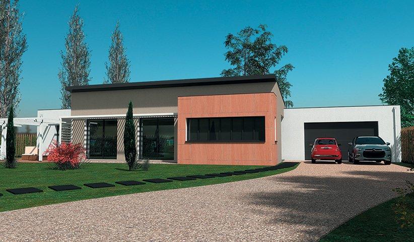 Maison design de plain pied 110 m 4 chambres - Maison moderne plain pied 4 chambres ...
