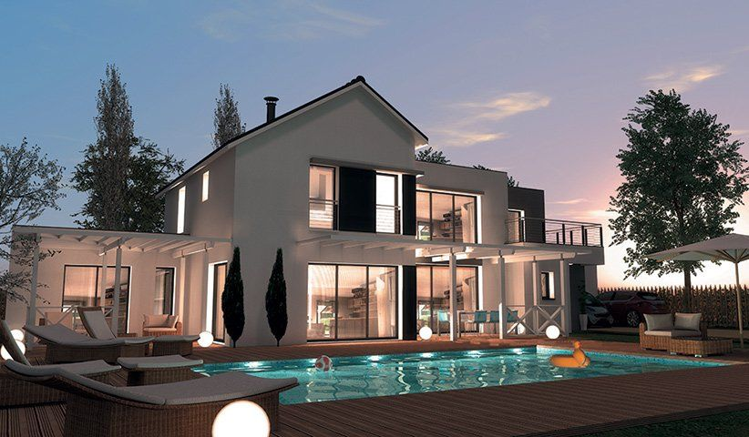 Maison contemporaine tage 200 m 4 chambres for Plan maison 200m2