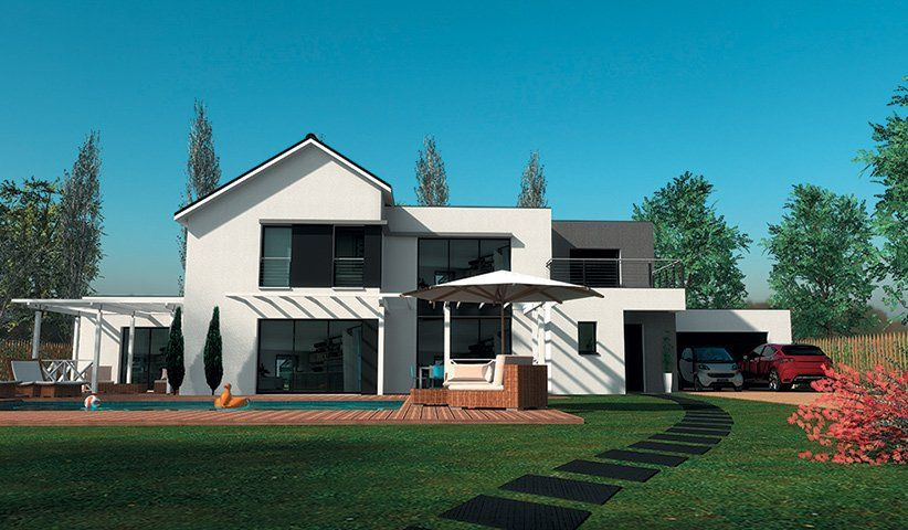 Maison contemporaine tage 200 m 4 chambres for Maison moderne carre