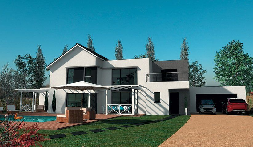 Maison contemporaine tage 200 m 4 chambres for Plan maison moderne 200m2