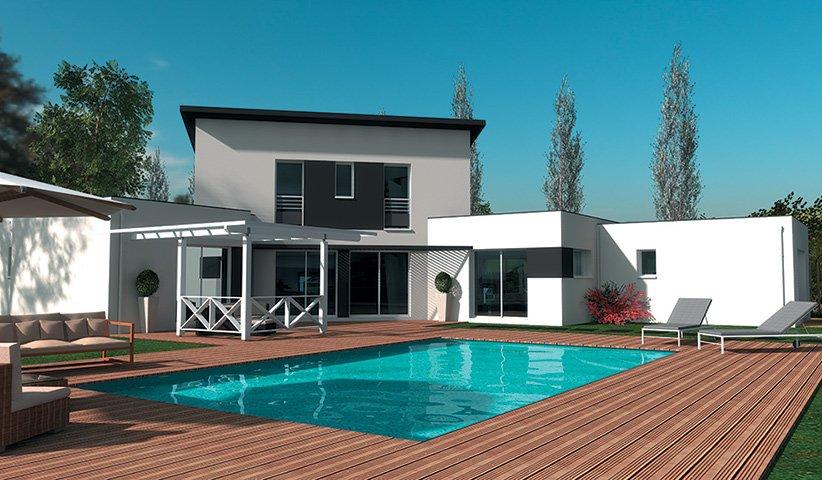 Maison contemporaine tage 180 m 4 chambres for Modele de maison moderne a etage