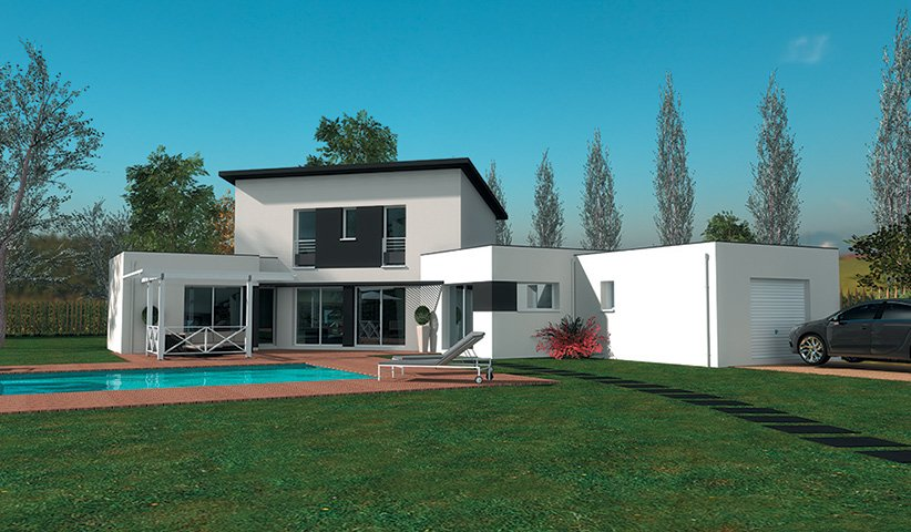 Plan maison moderne 180m2 for Modele de maison en bois contemporaine