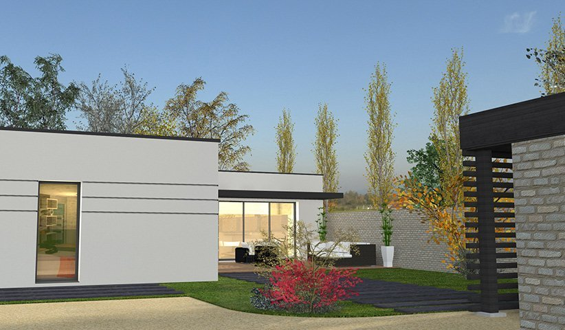 Maison contemporaine de plain pied 111 m 4 chambres for Couleur facade maison plain pied