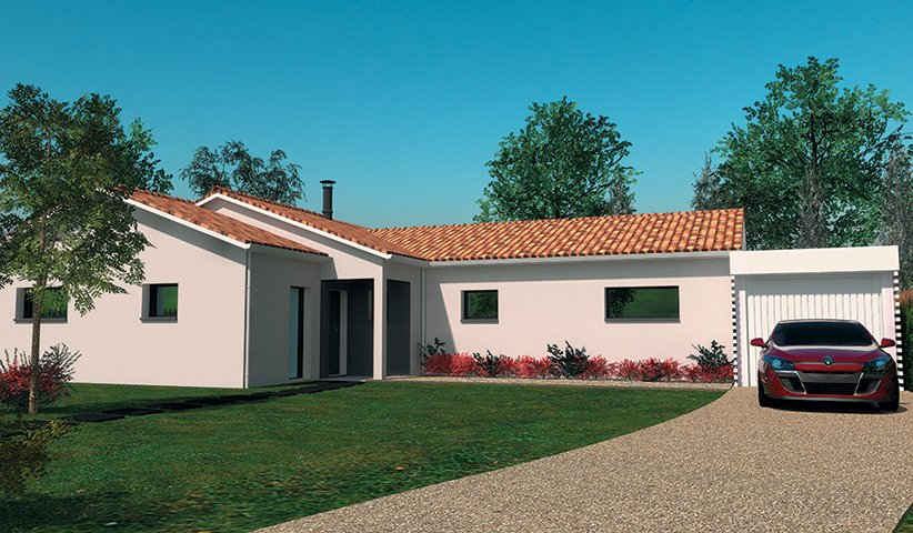 Maison traditionnelle de plain pied 89 m 2 chambres for Constructeur maison traditionnelle