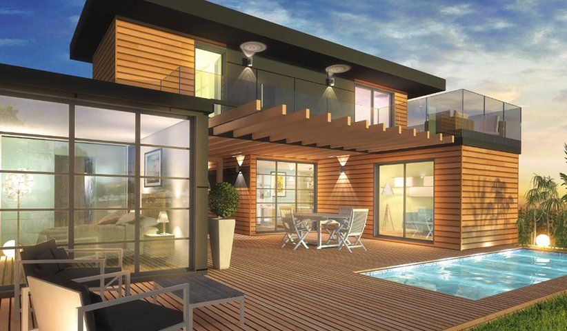 maison ossature bois tage 80 m 3 chambres. Black Bedroom Furniture Sets. Home Design Ideas