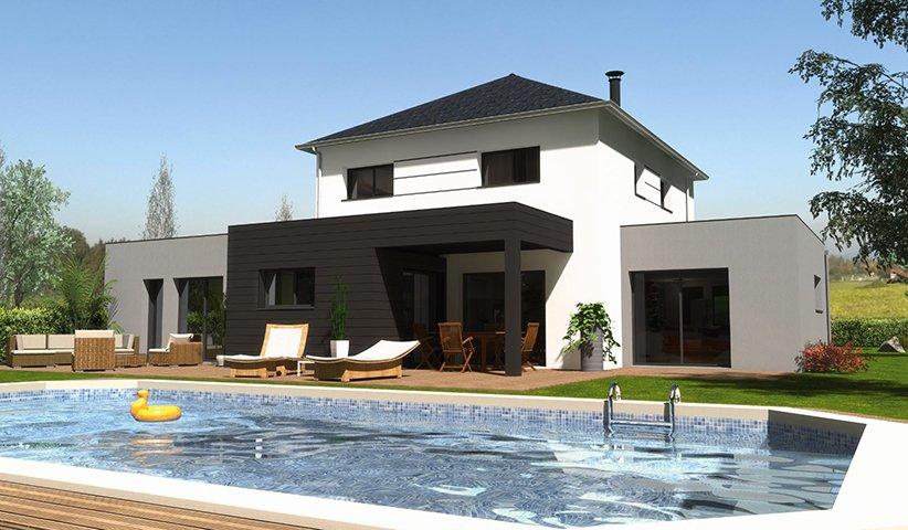 Maison contemporaine tage 178 m 5 chambres - Plan maison moderne 5 chambres ...