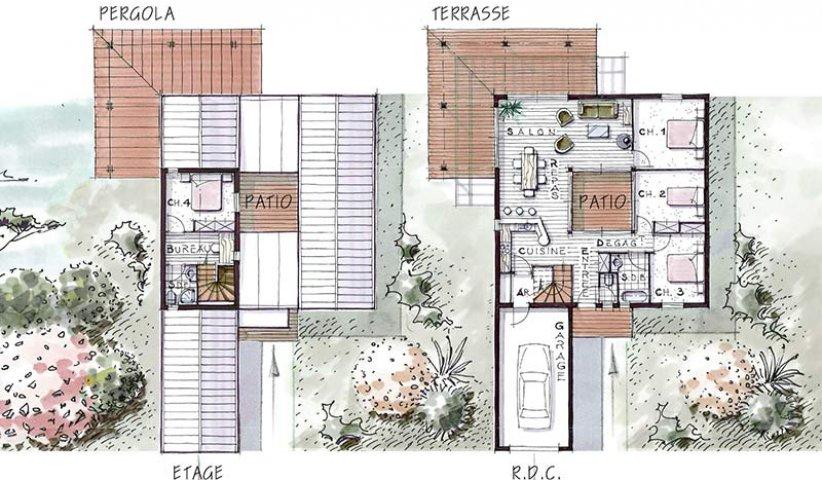 Maison bois avec patio central avie home - Plan de maison avec patio central ...