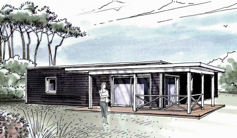 plan maison bois patio halo 127