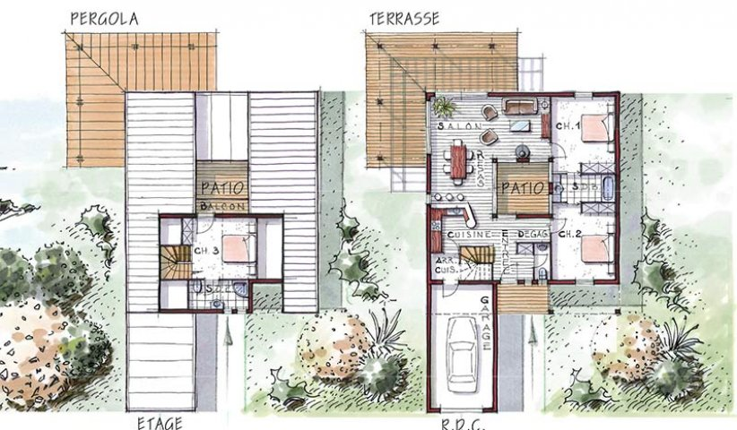 Plan de maison ossature bois for Plan maison patio