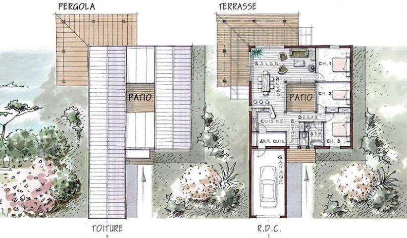Maison OSSATURE BOIS de plain-pied 96 m² 3 chambres