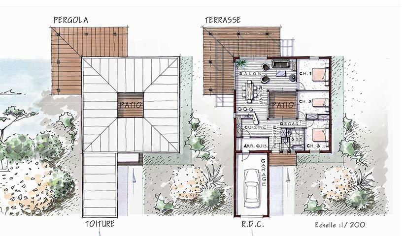 Maison OSSATURE BOIS de plain pied 96 m u00b2 3 chambres # Maison Passive Bois Plain Pied