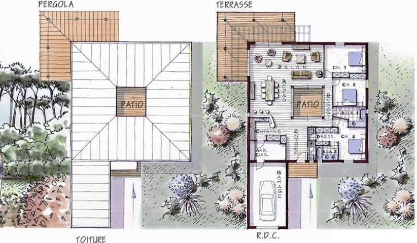 Maison ossature bois de plain pied 146 m 3 chambres - Maison contemporaine plain pied avec patio ...