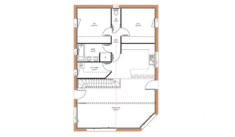 Maison traditionnelle de plain pied 83 m 3 chambres for Plan maison t4 plain pied