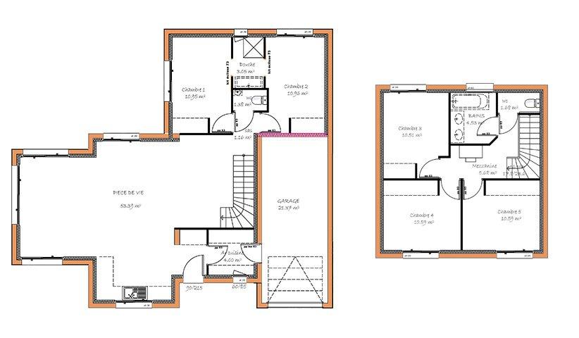 Maison traditionnelle tage 114 m 4 chambres - Plan etage 4 chambres ...