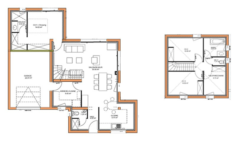 Maison traditionnelle tage 105 m 3 chambres for Plan interieur maison 3 chambres