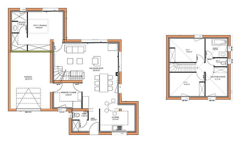 Extrem Plan Maison 160 M2 Etage. Plan Maison Tage M Merbau With Plan  GV33