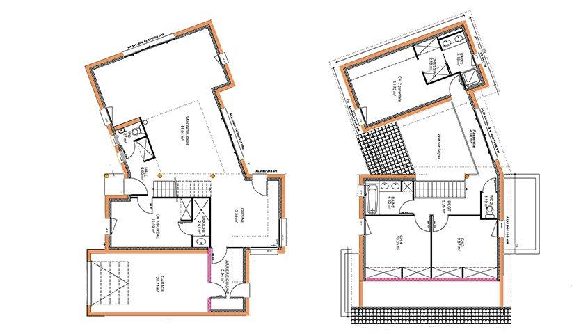 Maison traditionnelle de plain pied 87 m 3 chambres for Plan maison 105m2 plain pied